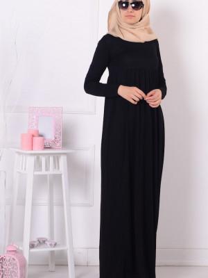 Büyük Beden Pileli Siyah Elbise