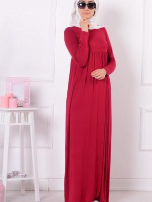 Büyük Beden Pileli Kırmızı Elbise