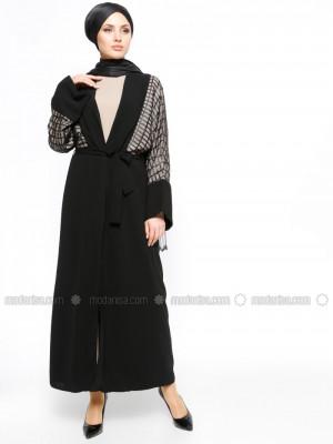Abiye Ferace & Elbise İkili Siyah Takım