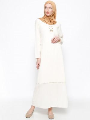 Şile Bezi Boncuk İşlemeli Krem- Çkr Elbise