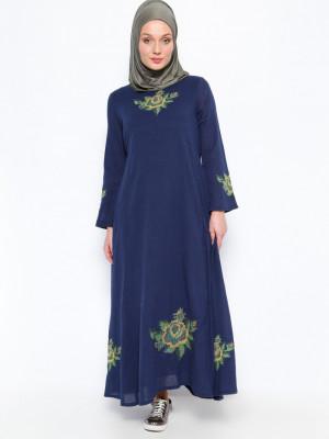Şile Bezi İşlemeli Lacivert Elbise