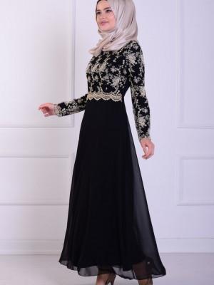 Dantelli Siyah Abiye Elbise