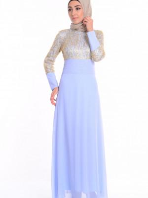 Pullu İşlemeli Buz Mavi Abiye Elbise