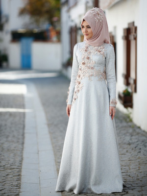 Hayal Brokar Buz Mavi Abiye Elbise