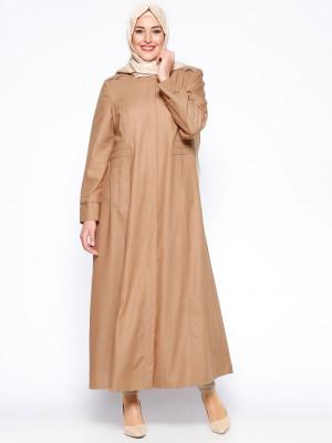 Gizli Düğmeli Camel Pardesü