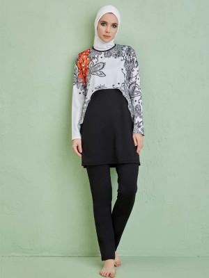 Şal Desenli Tasarım Siyah Beyaz Tam Kapalı Mayo