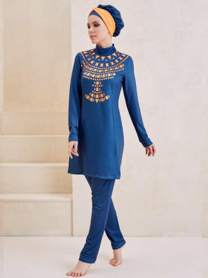 Kleopatra Tasarım Lazer Kesim Turuncu Mavi Tam Kapalı Mayo
