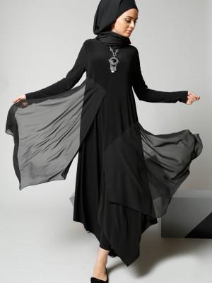 Şifon Parçalı Siyah Tunik