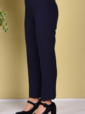 Yan Fermuarlı Klasik Lacivert Pantolon