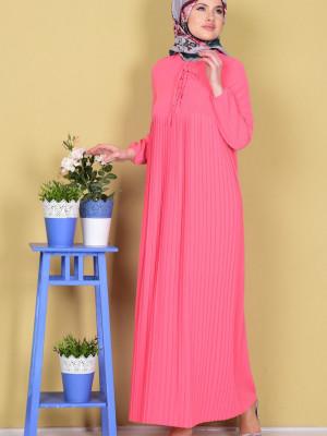 Piliseli Bağcıklı Pembe Elbise