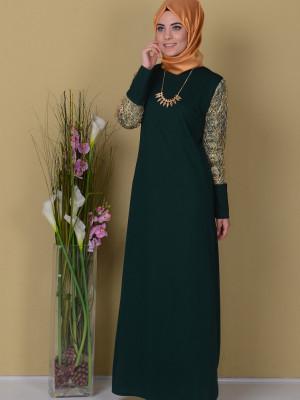 Yeşil Dantel Detaylı Elbise
