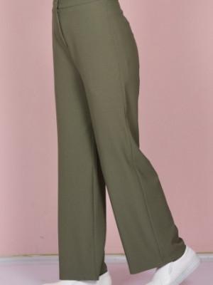 Krep Bol Paça Haki Yeşil Pantolon