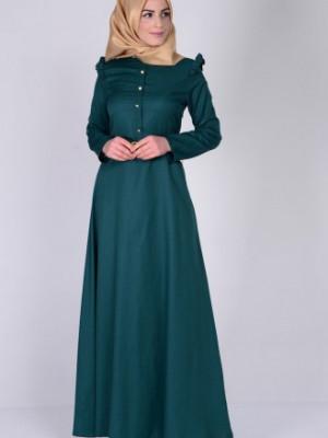 Omuzu Fırfırlı Kemerli Zümrüt Yeşil Elbise