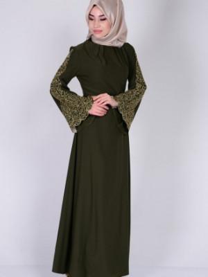 Nakışlı Haki Yeşil Abiye Elbise