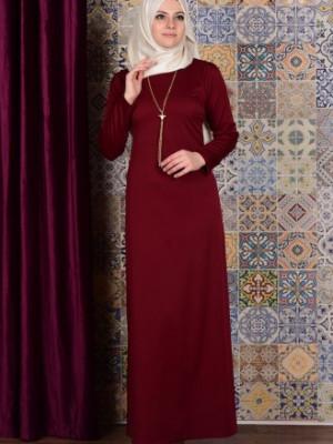 Kolyeli Bordo Elbise