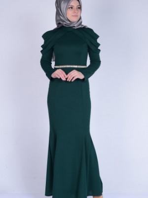 Omuz Detaylı Yeşil Abiye Elbise