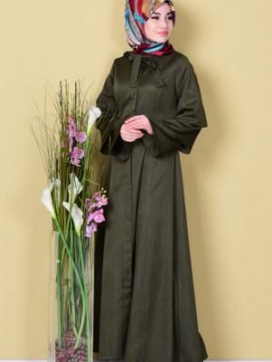 Kravat Yaka Yeşil Pardesü