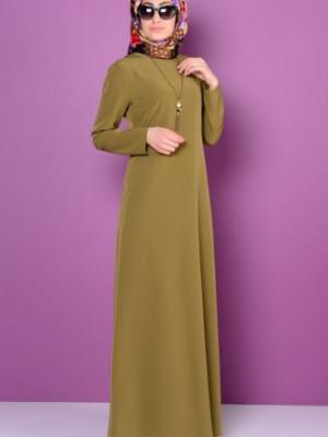 Krep Kolyeli Yağ Yeşil Elbise