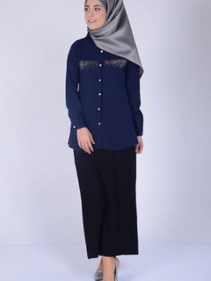 Taş Baskılı Lacivert Bluz