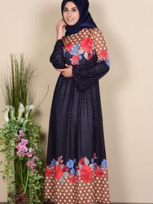 Puantiyeli Lacivert Elbise