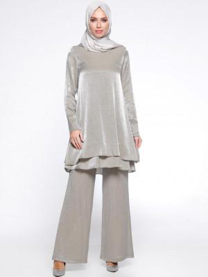 Tunik&Pantolon İkili Gümüş Takım