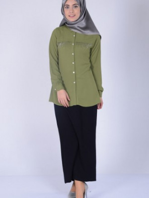 Taş Baskılı Haki Yeşil Bluz