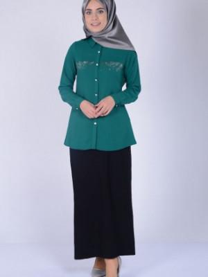 Taş Baskılı Zümrüt Yeşil Bluz