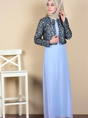 Bebe Mavi Ceketli Abiye Elbise