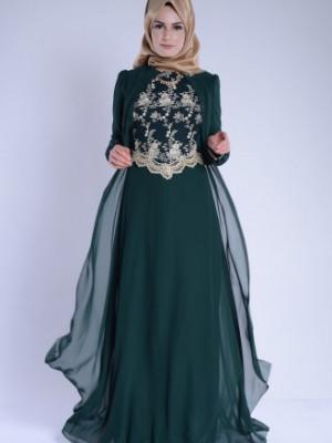 Yeşil Kolye Detaylı Abiye Elbise