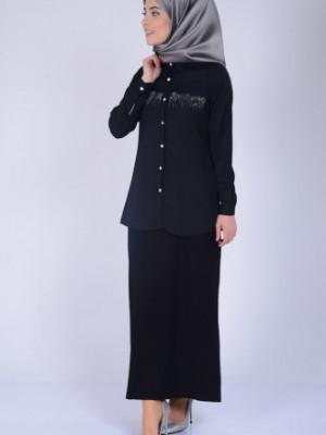 Taş Baskılı Siyah Bluz