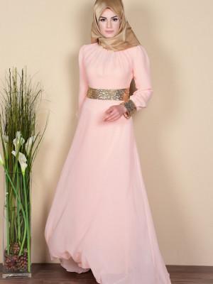Somon İşlemeli Şifon Abiye Elbise