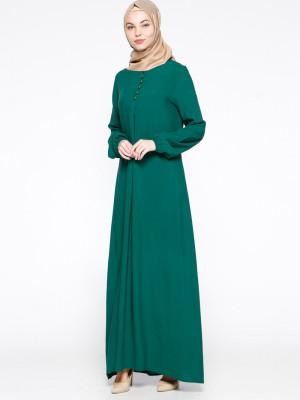 Birit Detaylı Açık Yeşil Elbise