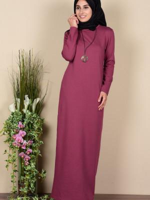Kolyeli İki İplik Gül Kurusu Elbise