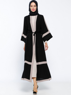 Elbise&Ferace İkili Siyah Vizon Takım