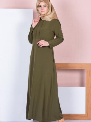 Pile Detaylı Haki Yeşil Elbise