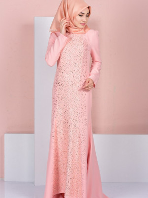 Taş Detaylı Somon Abiye Elbise