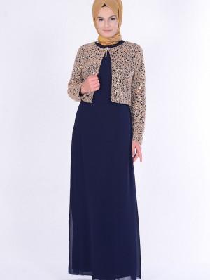 Lacivert Ceketli Abiye Elbise