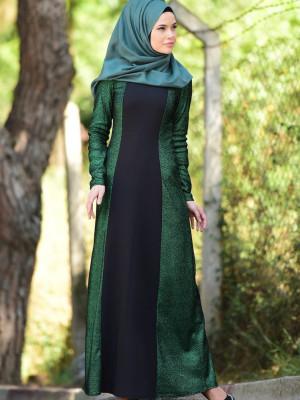 Simli Zümrüt Yeşil Abiye Elbise