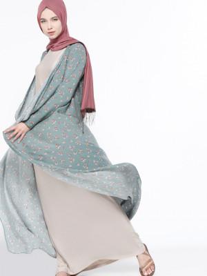 Kolsuz Elbise&Kap İkili Yeşil Takım