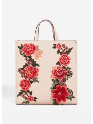 Çiçek İşlemeli Shopper Çanta
