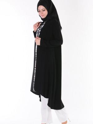 Tunik Hırka İkili Siyah Takım