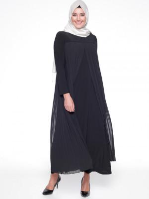 Şifon Parçalı Siyah Elbise