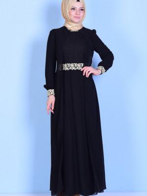 Güpür Detaylı Şifon Siyah Abiye Elbise