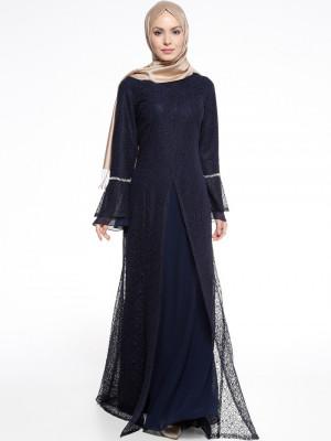 Taşlı Lacivert Abiye Elbise