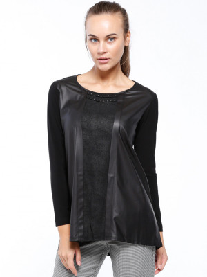 Deri Parçalı Siyah Bluz