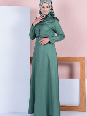 Fırfırlı Yeşil Elbise