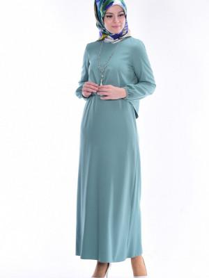 Bluz Detaylı Çağla Yeşil Elbise