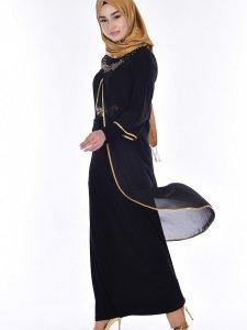 İnci Detaylı Siyah Abiye Elbise