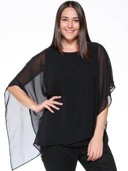 Şifon Detaylı Siyah Bluz