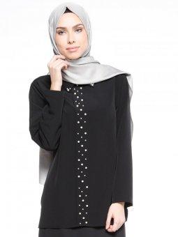 İnci Detaylı Siyah Bluz